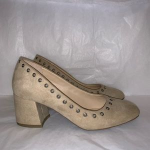 Faux Suede Grommet Detail Block Heels